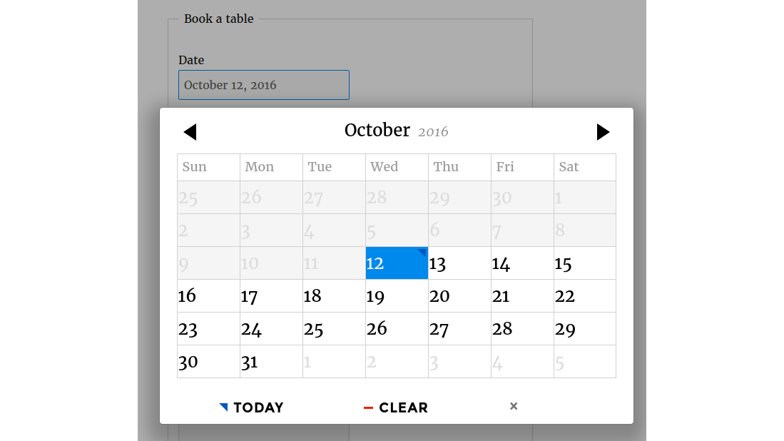 The booking form calendar